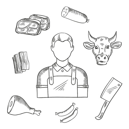 Butcher profession icons for butcher shop and farm market. Man in long waist apron, sausages and bacon, fresh tenderloin and pork leg, cow head and big cleaver knife Illustration