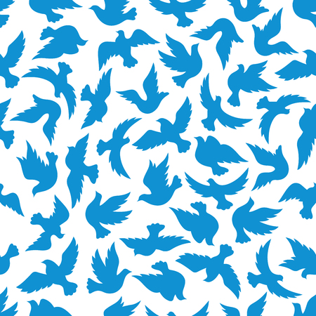 blue silhouettes: Seamless pattern with blue silhouettes of flying dove birds over white background. Peace, religion theme or wallpaper design Illustration