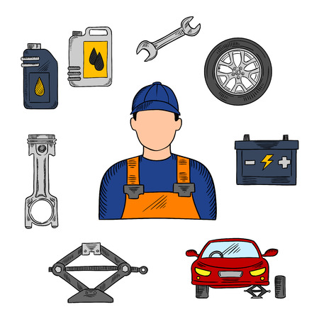 icon man: Mechanic in blue uniform with symbols of car on jack, wheel and spanner, piston, battery and motor oil