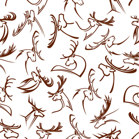 fallow: Gorgeous deers heads seamless pattern of reindeers and elks, white tailed deers, mooses and fallow deers with powerful antlers Illustration