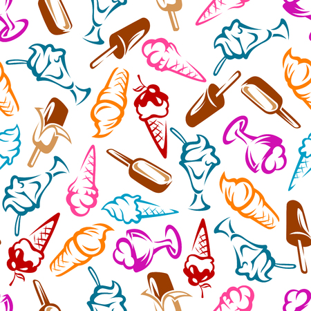 Desserts seamless pattern with cones, chocolate ice cream on sticks and sundae ice cream with fruits and syrup. Dessert menu or snack themes