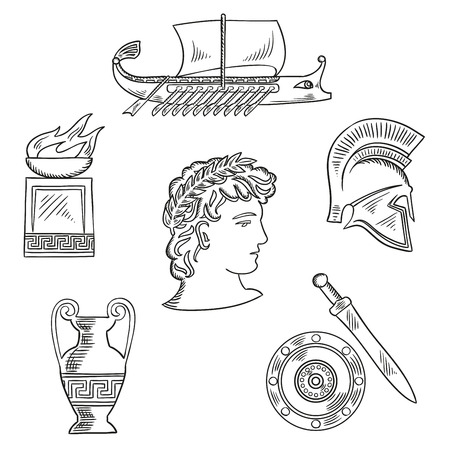 ancient ships: Historical and cultural symbols of ancient Greece with emperor in laurel wreath, surrounded by sketches of amphora and soldier helmet, shield and sword, fire pit bowl and warship galley Illustration