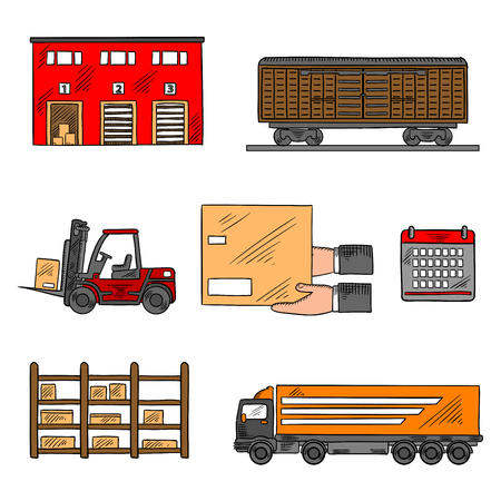 storage box: Storage and delivery service elements with freight wagon and delivery truck, warehouse building, forklift truck and rack with boxes, calendar and hands with box. Shipping, logistics and delivery theme design