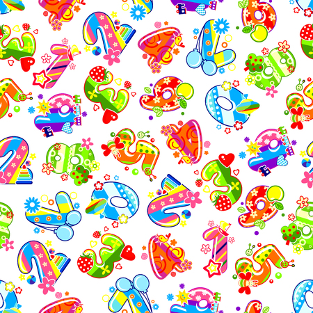 childish: Childish numbers background for birthday party or childish room interior design with colorful digits, adorned by toys and fruits, hearts and air balloons, flowers, birds and butterflies