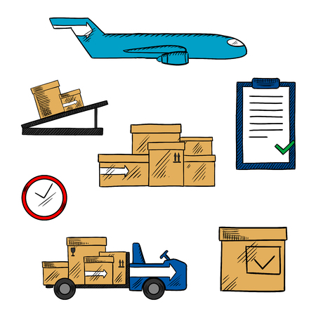 shipping by air: Air freight, transportation and shipping icons with cargo airplane and cardboard packages, airport truck and pallet conveyor, clock and clipboard with checklist. Aircraft delivery concept for transportation or shipping themes design