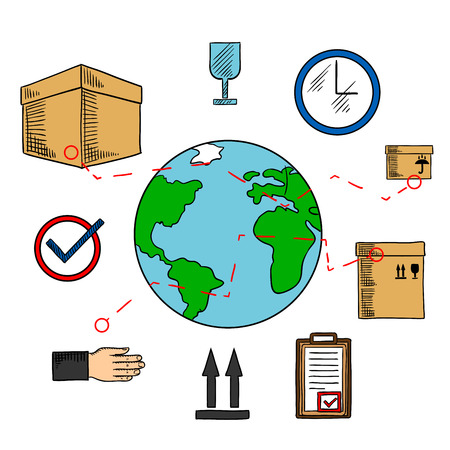 route: Worldwide shipping and logistics service icons with earth globe and delivery routes, cardboard packages with keep dry, up and fragile symbols, wall clock and clipboard with approved form