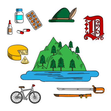 medications: Spectacular landscape of bavarian lake Constance icon with wool tyrol hat, adorned by feather, farm cheese, medications, ornamental german gothic font, bicycle and ancient saber. Colorful sketches for Germany theme design