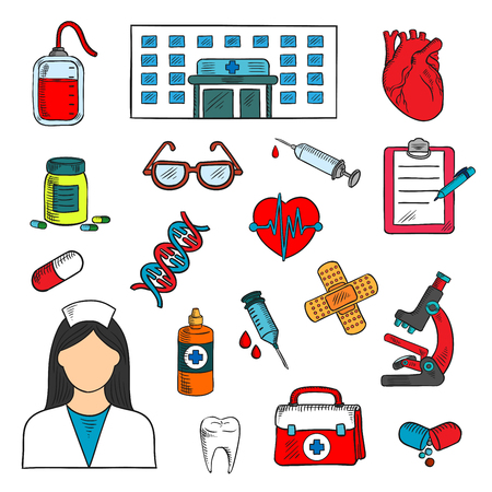 aid: Medical sketched icons of doctor and medicine bottles, syringes and human hearts, glasses and blood bag, microscope, first aid kit, DNA and healthy tooth, plaster and clipboard with pen