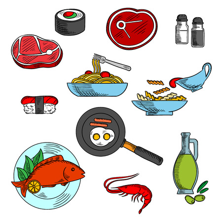 salmon dinner: Beef steaks, fried eggs and sausages, sushi with salmon, baked fish and pasta with tomato sauce, grilled shrimp and olive oil. Dinner and lunch food elements
