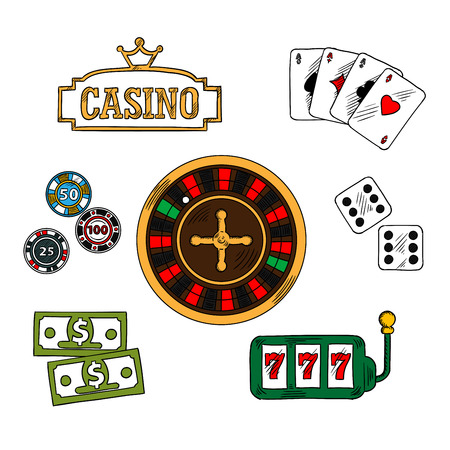 topped: Casino and gambling symbols with money and gambling chips, playing cards with four aces, dice and slot machine, casino golden signboard, topped with crown and roulette