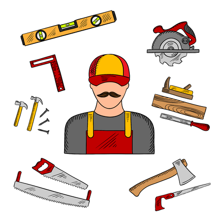 jack hammer: Carpenter profession with tools and equipment icons with hammer and hand saw, axe and circular saw, rasp and jack plane, measuring level and angle ruler. Sketch style Illustration