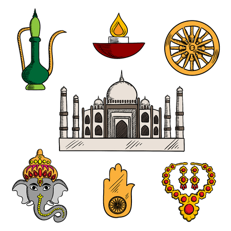 chakra symbols: Indian travel,religion and culture icons with Taj Mahal, surrounded by god Ganesha and antique gold jewelry, diwali lamp and copper teapot, lucky amulet of hamsa hand and ashoka chakra symbols. Sketch style Illustration