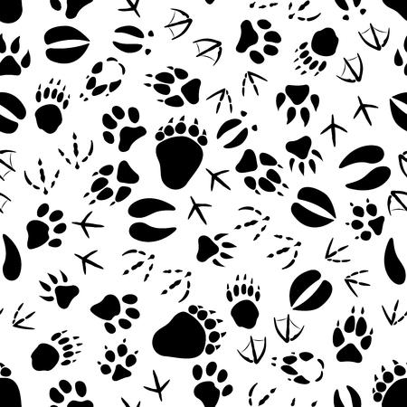 vogelspuren: Schwarze Spuren von Tieren und Vögeln nahtlose Muster auf weißem Hintergrund. Natur oder wild lebende Tiere Thema oder Einklebebuchseite Hintergrund Design Illustration