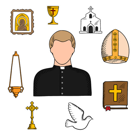 white collar: Priest in black robe and white collar with religious symbols