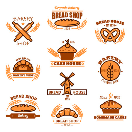 homemade bread: Bakery, homemade pastry shop, grocery, bread and sweet shop design Illustration