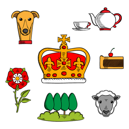 uk cuisine: Britain royal crown adorned by heraldic elements with sketches of national symbols