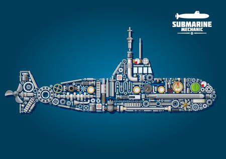 Submarino esquema de la mecánica con el buque de guerra submarina compuesta de arma y detalles tales como hélices y engranajes, cadenas y rodamientos, sonar y periscopio, torpedos y el orden motor de telégrafo, ojos de buey, manivelas y medidores Foto de archivo - 54663988