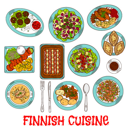 berry: National finnish cuisine dishes with smoked salmon and vegetables, rice and fish rye pies, sausages and meatballs with berry jam, cabbage and reindeer stews, salads with apples, cheese and cloudberries, soup and coffee