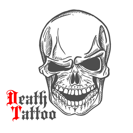 eye sockets: Dark gray human skull sketch with spooky smile and caption Death Tattoo in gothic style. Tattoo or t-shirt print design usage