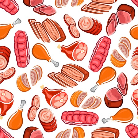 Tasty meat products seamless pattern with sausages and chicken legs, roast beef, spicy meat loaves and cured ham on white background. Butcher shop, menu or kitchen interior accessories theme