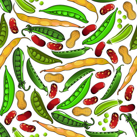 common bean: Healthy legumes vegetarian seamless pattern of sweet green peas and peanuts in shell, fresh yellow pods of common bean, brown spotted beans and pea grains. Vegetarian menu or agriculture themes design