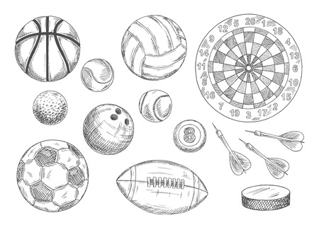 ice hockey puck: Soccer, american football and basketball, tennis and baseball, volleyball and bowling, billiards and golf games balls with ice hockey puck and darts arrows near target board. Vintage engraving sport items for sport and competition design