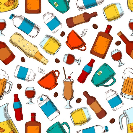 soda: Beverages seamless pattern of coffee and tea cups, bottles and filled glasses of beer and soda, wine and whiskey, milk and cream packets, fresh lemonade and milk shake