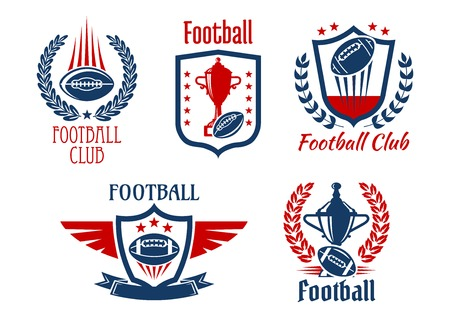 heraldic symbols: American football sport heraldic symbols and icons for sporting club or team design with trophy prizes and balls, framed by medieval shields, laurel wreaths and ribbon banners, adorned by stars and wings
