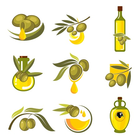 salad dressing: Fresh green and black olive fruits icons with dripping golden drops of oil and glass bottles filled with healthy organic extra virgin olive oil