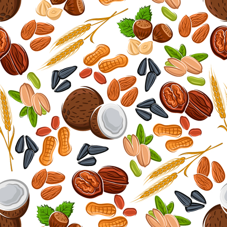 wholesome: Wholesome nuts and seeds, legumes and cereal seamless pattern of almonds and hazelnuts, peanuts and pistachios, coconuts and walnuts, wheat ears and sunflower seeds