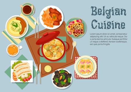 Traditionele Belgische keuken met keramische pot van kip stoofpot, omringd door gratin van witlof omwikkeld met ham, aardappelpuree met worst, mosselen en stoverij met frietjes, witte varkensvlees worstjes en wafels gegarneerd met fruit