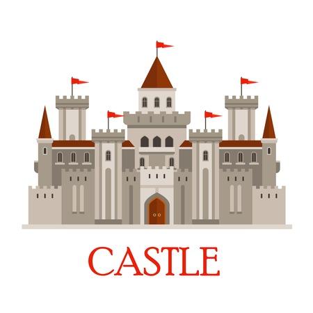 castello medievale: FORTEZZA romana medievale nei colori grigio con finestre ad arco e bandiere rosse su torrette, circondato da facciate continue con torri angolari e corpo di guardia con cancello di legno. stile piatto