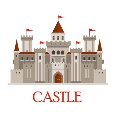 castle buildings: Fortified medieval roman castle in gray colors with arched windows and red flags on turrets, surrounded by curtain walls with corner towers and gatehouse with wooden gate. Flat style
