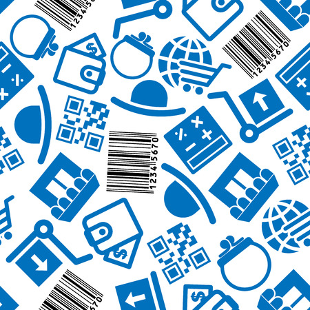 barcodes: Business, e-commerce and on-line shopping seamless background with blue and black pattern of store buildings and calculators, wallets and barcodes, globes with shopping carts, hand trucks with boxes and hats. Business theme
