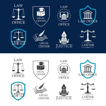 Abogado y justicia, asesoría jurídica y legal de centros de iconos con los edificios judiciales, balanza de la justicia y los libros de leyes enmarcadas por escudos heráldicos y estrellas Ilustración de vector