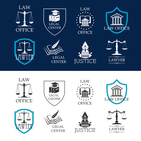 law books: Lawyer and justice, law office and legal center icons with court buildings, scales of justice and law books framed by heraldic shields and stars