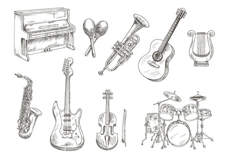 drums: Drum set and piano, saxophone, acoustic and electric guitars, violin and trumpet, ancient greek lyre and wooden maracas engraving sketches