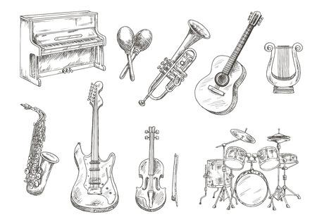 Grupo de percusión y piano, saxofón, guitarras acústicas y eléctricas, violín y trompeta, lira antigua griega y bocetos maracas de madera grabado