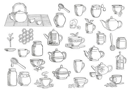 infuser: Tea and beverages hand drawn icons set with cups and mugs with fresh tea leaves, sugar cubes and tea bags, oriental tea sets, retro ceramic teapots and modern glass pots with plunger and infuser, jars of natural honey with dippers. Food and drinks theme