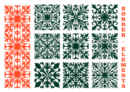 scroll design: Vintage floral borders design elements with orange and green floral ornaments, composed of flower buds, curved leaves and tendrils. May be use as decoration, embellishment or medieval design Illustration