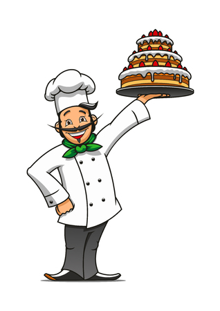 Cartoon french chef presenting the tray with tiered chocolate cake topped with buttercream and fresh berries. Pastry and confectionery shop or restaurant menu themes Illustration
