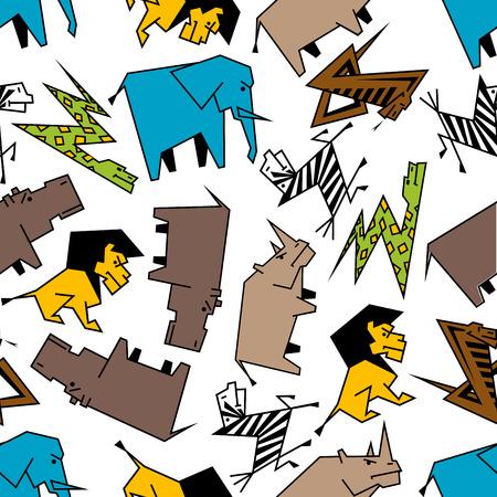 serpiente caricatura: Los animales salvajes de la sabana africana patrón sin fisuras con las serpientes estilizadas de dibujos animados, elefantes y leones, hipopótamos y cebras y rinocerontes, serpientes. habitación infantil interior, papel tapiz o textil temas