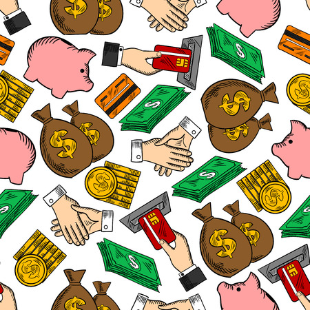 manos estrechadas: Business and finance seamless pattern with dollar bills and piles of gold coins, handshakes and moneybags, credit cards with ATM and piggy banks. Banking, currency, business themes