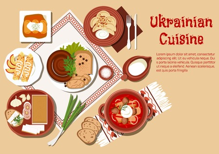 garlic bread: National ukrainian cuisine dishes with borscht served in ceramic pot and sour cream, stuffed cabbage rolls and vegetable dumplings vareniki, topped with fried onion, sausages and fatback, served with garlic and rye bread, pancakes and jug of milk Illustration