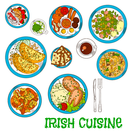 Irish cuisine dishes served with vegetable lamb stew and potato pancakes boxty with sauce, potato stew coddle with sausages and mashed potato with fish, raisin bread and meringue dessert with strawberries, green beer and coffee cup Illusztráció