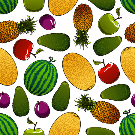 plum: Ripe summer fruits seamless pattern for agriculture or kitchen interior design with red and green apples, plums and pineapples, watermelons, avocados and melons Illustration