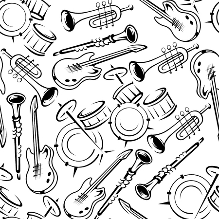 abstract illustration: Black and white musical instruments seamless pattern with drum sets and guitars, trumpets and clarinets on white background. Art and music theme