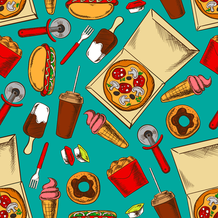 fried chicken wings: Retro color fast food background with seamless pattern of hot dogs and pizza, fried chicken wings and chocolate glazed donuts, ice cream and soda cups, takeaway sauces and pizza cutters