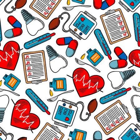 スプーンでの歯のインプラントや薬、血圧計、体温計、咳止めシロップ薬とパルスのグラフの心検査クリップボードを持った医療のシームレス パタ