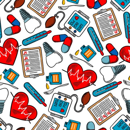 Medicine and healthcare seamless pattern with medical test clipboards, hearts with pulse graphs, tooth implants and pills, blood pressure monitors, thermometers and cough syrup with spoons